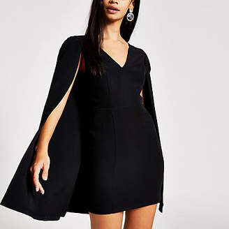 River Island Black cape bodycon mini dress