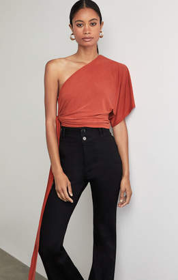 BCBGMAXAZRIA One Shoulder Tie Front Bodysuit