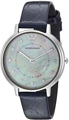 Emporio Armani Women's 'Dress' Quartz Stainless Steel and Leather Casual Watch, Color: (Model: AR11095)