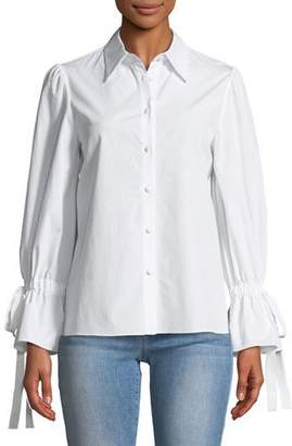 Alice + Olivia Julianna Puff-Sleeve Button-Front Tie-Cuff Shirt