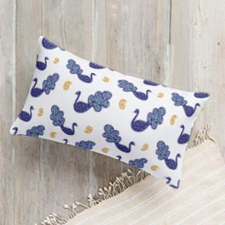 Peacock and Paisley Lumbar Pillow