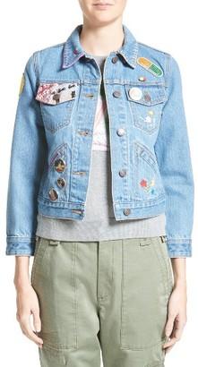 Women's Marc Jacobs Embellished Shrunken Denim Jacket $895 thestylecure.com