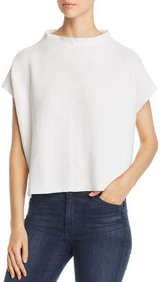 Eileen Fisher Petites Short-Sleeve Funnel-Neck Sweater