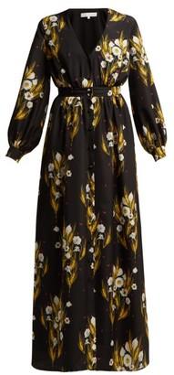 Borgo de Nor Francesca Floral Print Crepe Dress - Womens - Black Print