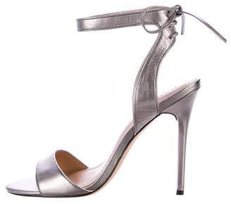 Halston Metallic Ankle Strap Sandals