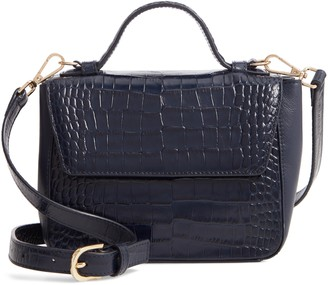 Nordstrom Mini Ryder Croc Embossed Leather Top Handle Bag