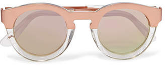 Sunday Somewhere - Soelae Round-frame Rose Gold-tone And Acetate Sunglasses - Pink