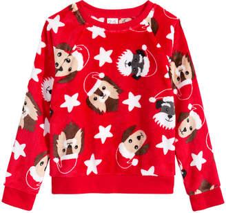 Awake Toddler Girls Dog-Print Faux-Fur Sweater