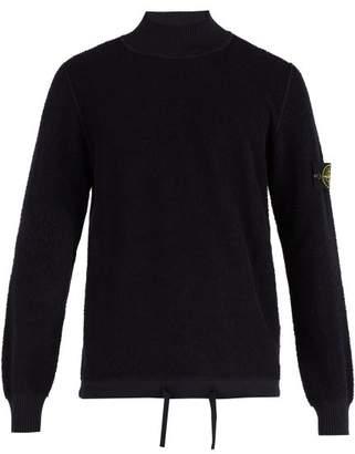 Stone Island High Neck Cotton Fleece Sweater - Mens - Navy