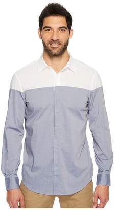 Perry Ellis Long Sleeve Color Block Shirt Men's Long Sleeve Button Up