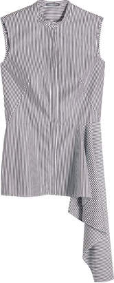Alexander McQueen Striped Cotton Sleeveless Shirt with Draped Hem