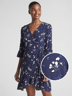 Gap Floral Ruffle Wrap Dress