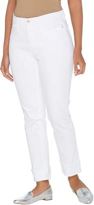Denim & Co. Studio by Petite Classic Denim Cuffed Ankle Jeans - White