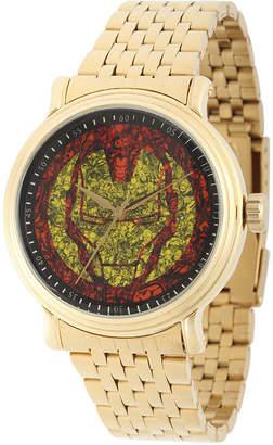 Marvel Mens Gold-Tone Stainless Steel Strap Iron Man Bracelet Watch
