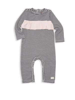 7 For All Mankind Baby Girl's Ruffle Striped Coveralls