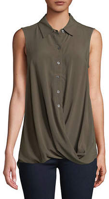 Lord & Taylor Sleeveless Faux-Wrap Button-Down Top