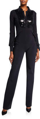 Chiara Boni Sequin-Bib Long-Sleeve Tux Jumpsuit