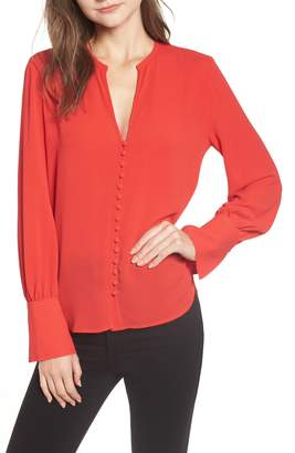 Chelsea28 Split Neck Button Front Crepe Top