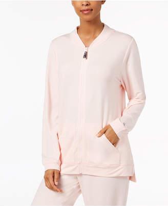 Hue Solid Zipper-Front Pajama Top