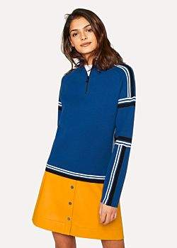 Paul Smith Women's Blue Knitted Cotton Half-Zip Sweater With Contrasting Stripes