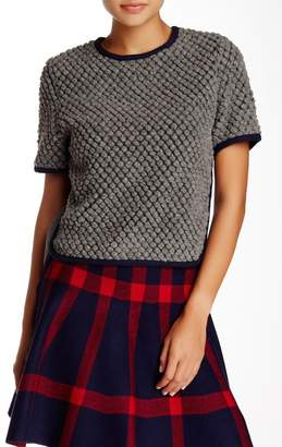 Gracia Textured Wool Blend Crop Blouse