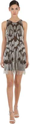 Azzaro Silk Tulle Mini Dress W/ Bead Fringes