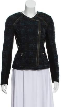 Rebecca Taylor Bouclé Leather-Trimmed Jacket