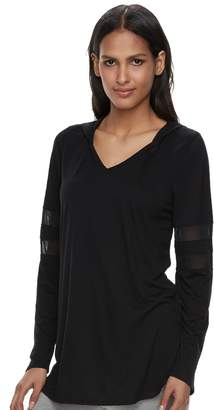 Laundry by Shelli Segal Women's French Laundry Mesh Sleeve Hooded Tunic