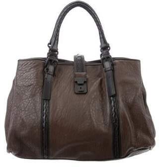 Bottega Veneta Leather Roma Bag Brown Leather Roma Bag
