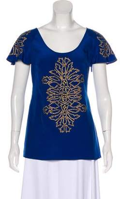 Tracy Reese Embellished Short Sleeve Top