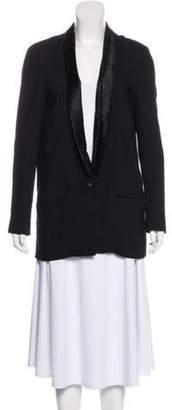 Helmut Lang Structured Fur-Trimmed Blazer Black Structured Fur-Trimmed Blazer