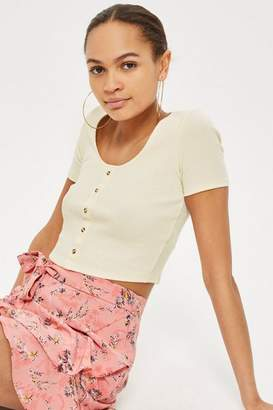 Topshop Short Sleeve Horn Button Cropped Top