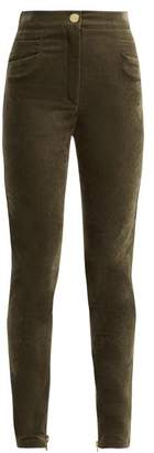Balmain - High Rise Velvet Trousers - Womens - Khaki