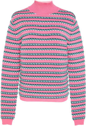 Rosie Assoulin Ottoman Stripe Mock Neck Wool Sweater