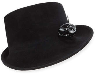 Philip Treacy Side Sweep Velour Hat w/ Abstract Patent Leather Bow