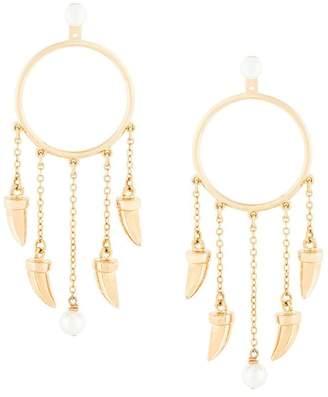 Eshvi hanging tusk hoop earrings