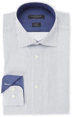 Isaac Mizrahi Blue & Black Box-Print Slim Fit Stretch Dress Shirt