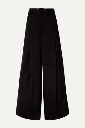 Dries Van Noten Podium Belted Satin-crepe Wide-leg Pants - Black
