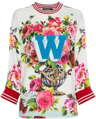 Dolce & Gabbana peonie print sports top