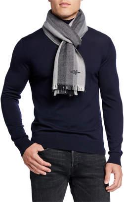 Hickey Freeman Men's Herringbone Vertical Striped Wool Scarf