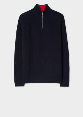Paul Smith Men's Black Funnel Neck Half-Zip Ribbed Wool-Blend Sweater