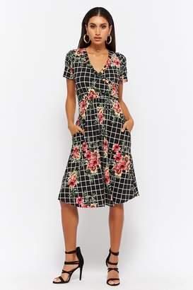 Forever 21 Grid Floral Surplice Dress