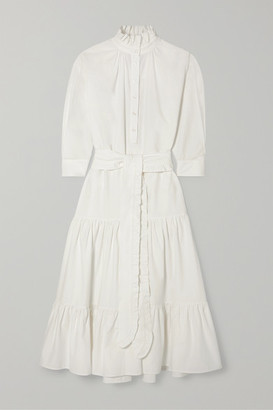 Evi Grintela Phoebe Ruffled Cotton-corduroy Maxi Dress - White