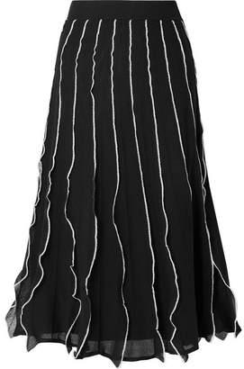 RED Valentino Ruffled Pointelle-knit Cotton-blend Midi Skirt