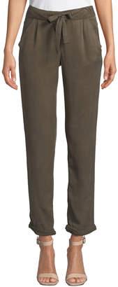 Tahari Denim Ruched-Bottom Straight-Leg Ankle Pants
