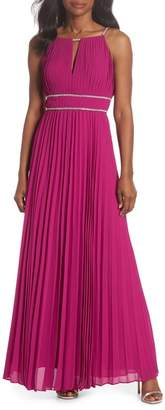 Eliza J Jeweled Strap Pleated Gown