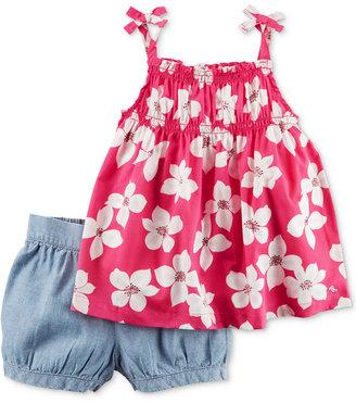 Carter's 2-Pc. Cotton Floral-Print Top & Bubble Shorts Set, Baby Girls (0-24 months) $24 thestylecure.com
