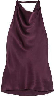 Cushnie et Ochs - Silk-charmeuse Haterneck Top - Grape $595 thestylecure.com