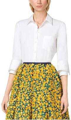 Michael Kors Double-Cuff Cotton-Poplin Shirt