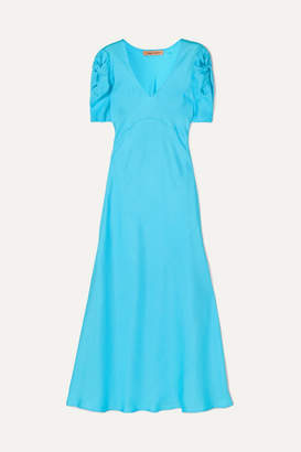 Maggie Marilyn Net Sustain Knotted Silk-twill Midi Dress - Blue